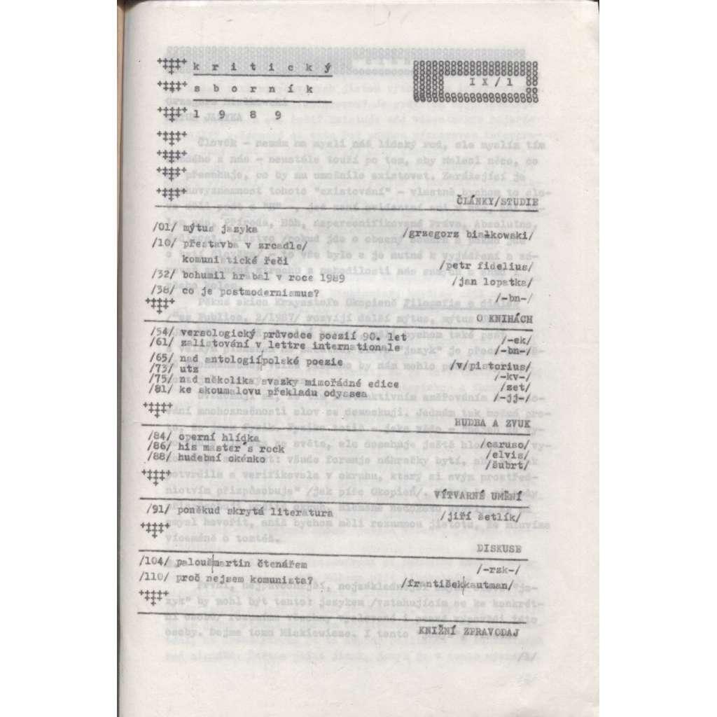 Kritický sborník 1989, IX./1. (samizdat)