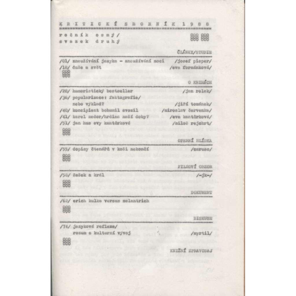 Kritický sborník 1988 (samizdat) Ročník 8., sv. 2.