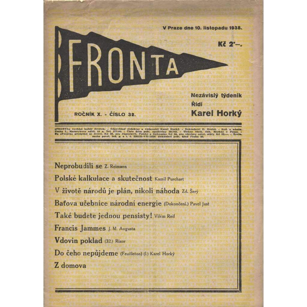 Fronta, ročník X., číslo 32/1938