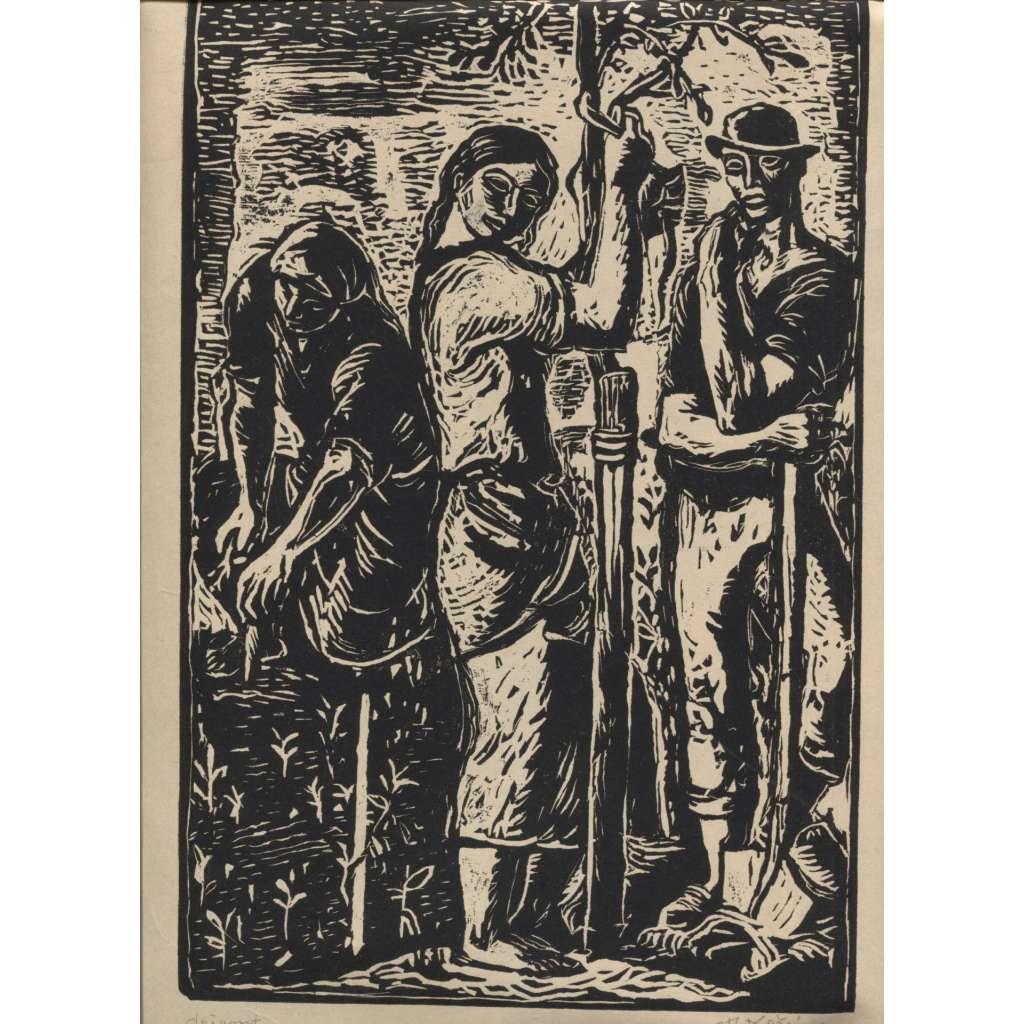 Podvečer na zahradě (dřevoryt, podpis Josef Kočí)