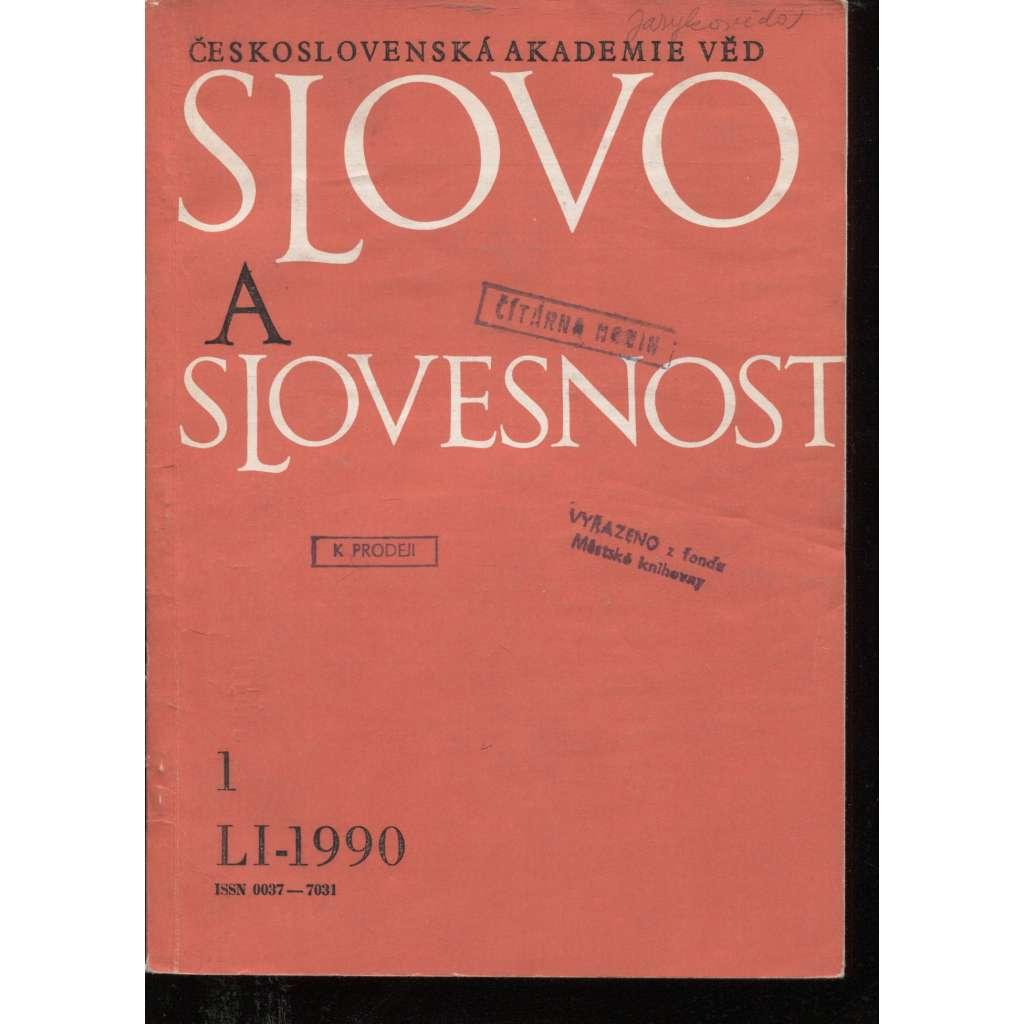 Slovo a slovesnost, ročník LI./1990, číslo 1. (jazykověda, časopis)