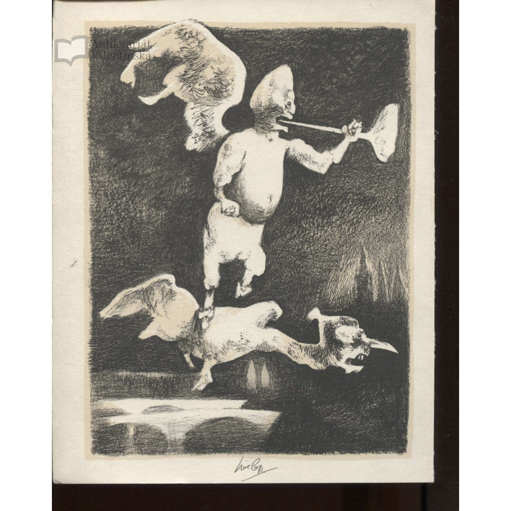 Praha pod křídly války (litografie, 1945, Josef Liesler)
