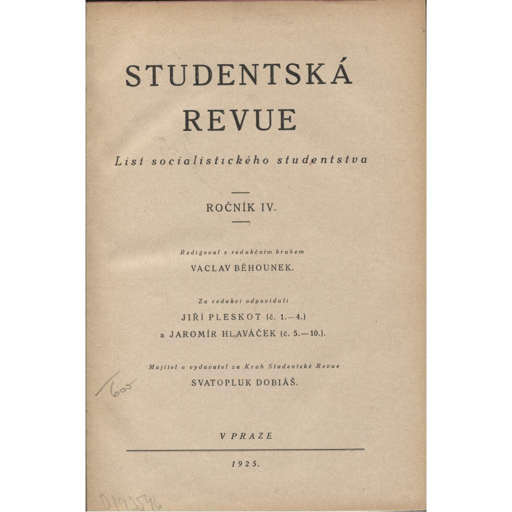 Studentská revue, ročník IV. a V./1925 (List socialistického studenstva)