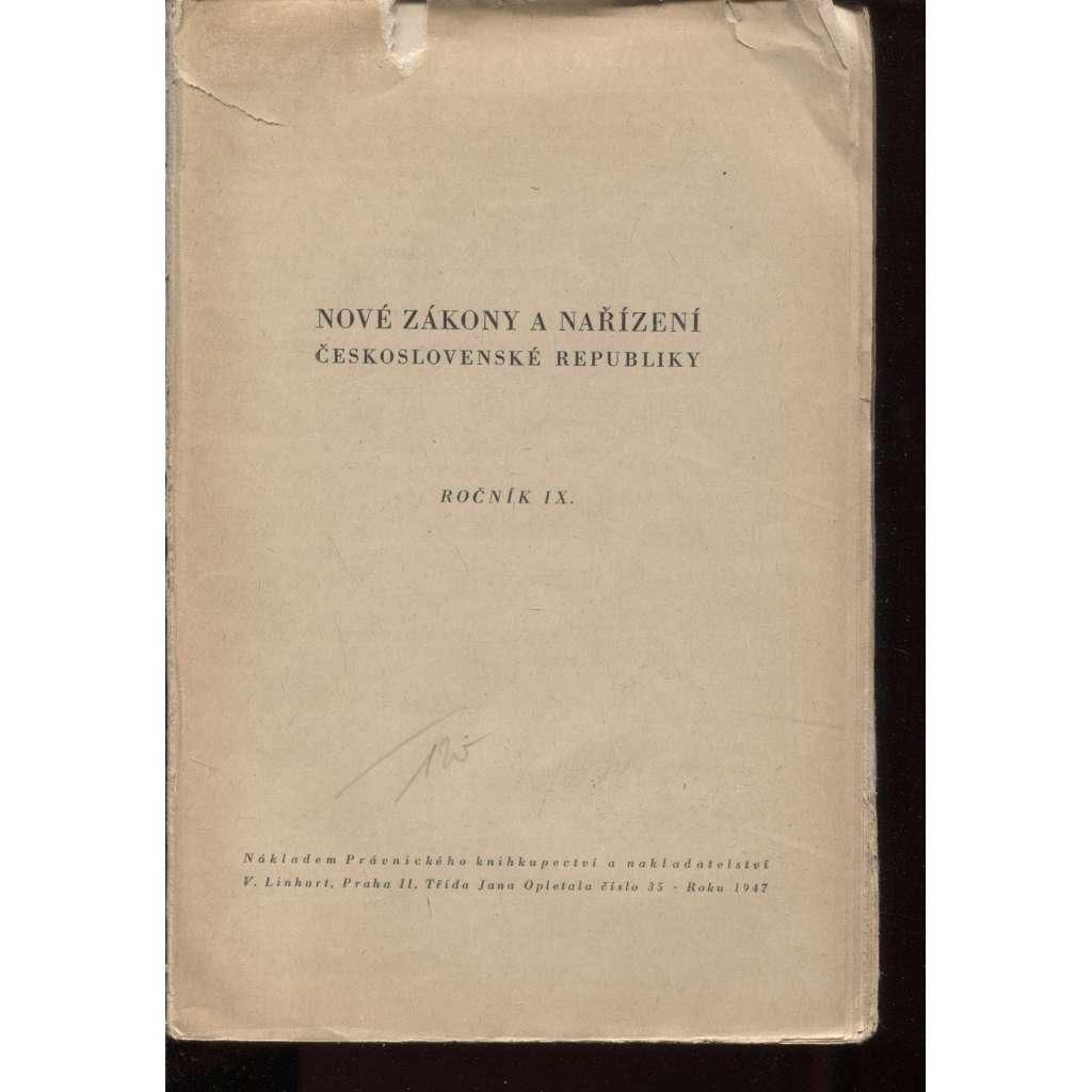 Nové zákony a nařízení Československé republiky, 1947 (ročník IX., č.1-2)