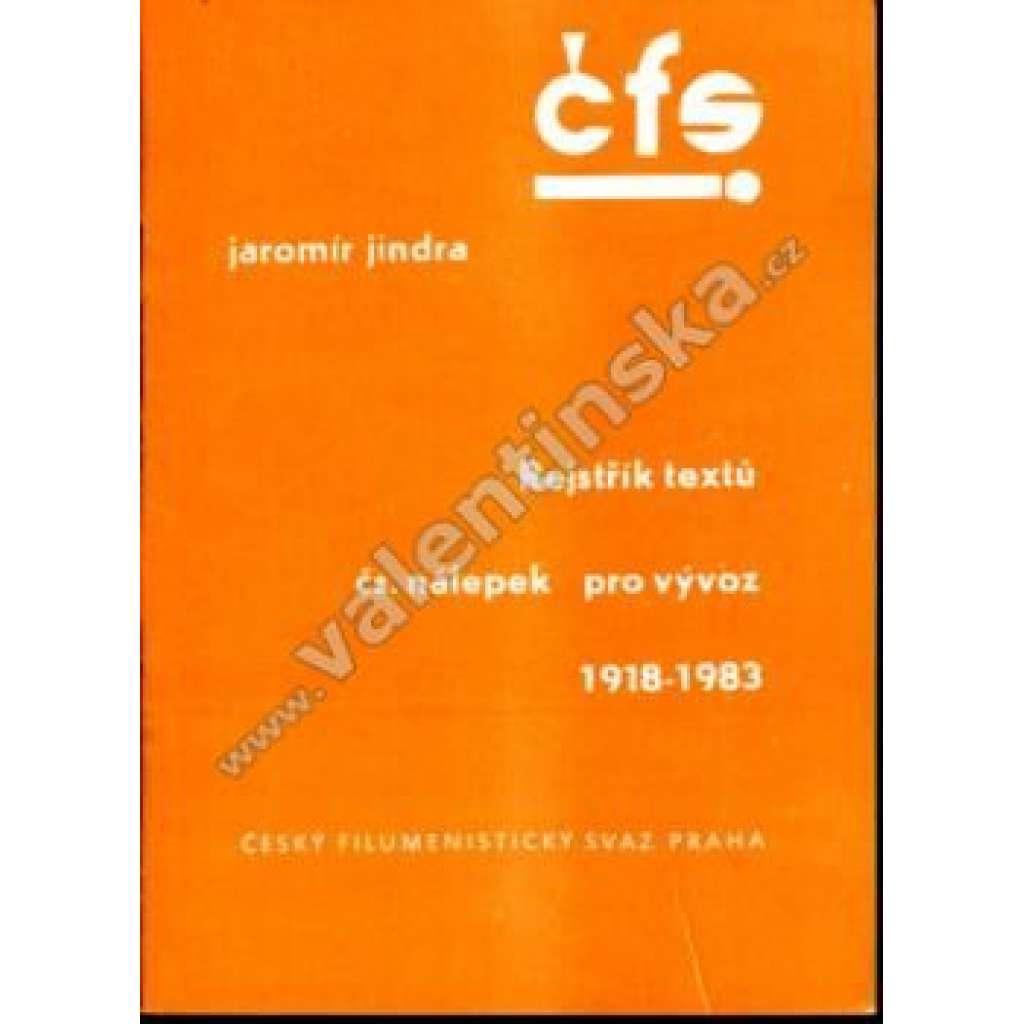 Rejstřík textů čs. nálepek pro vývoz 1918-1983