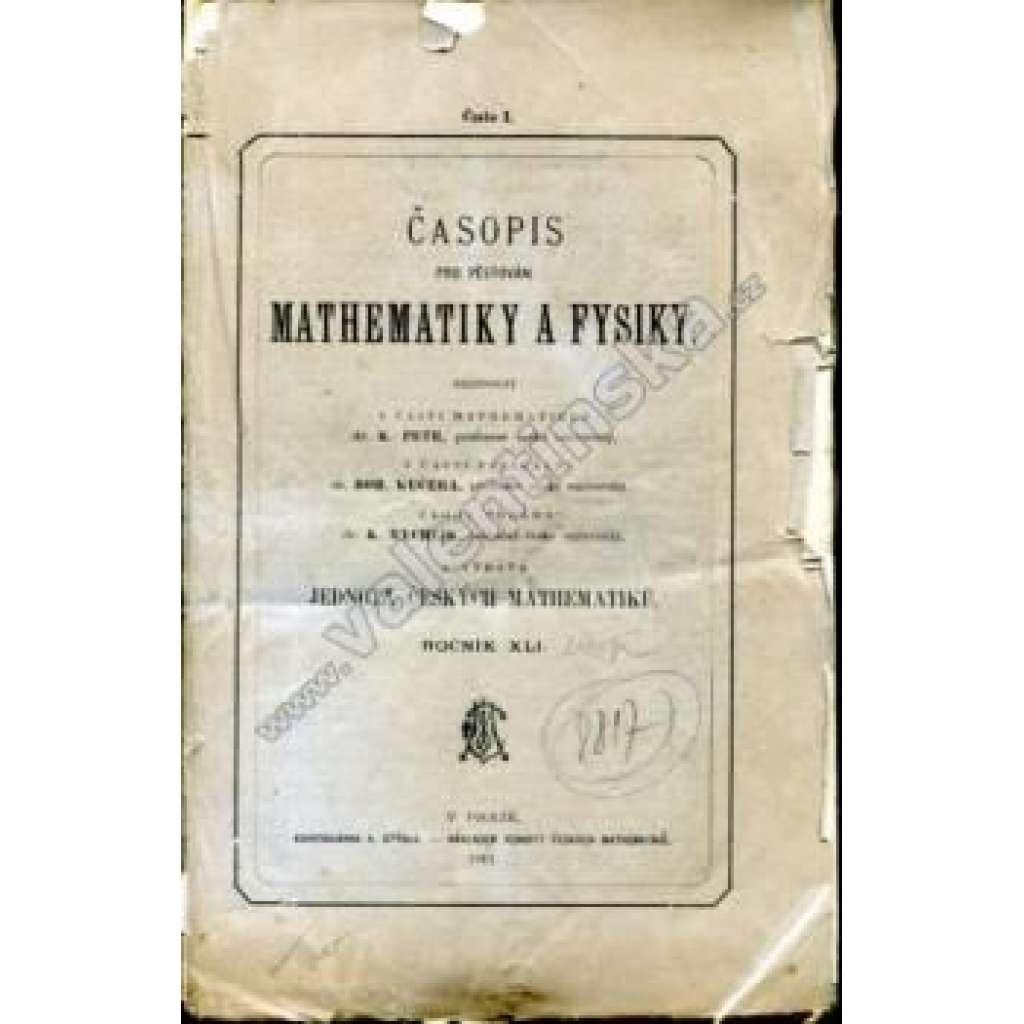 Časopis pro pěstování mathematiky a fysiky, r. 41