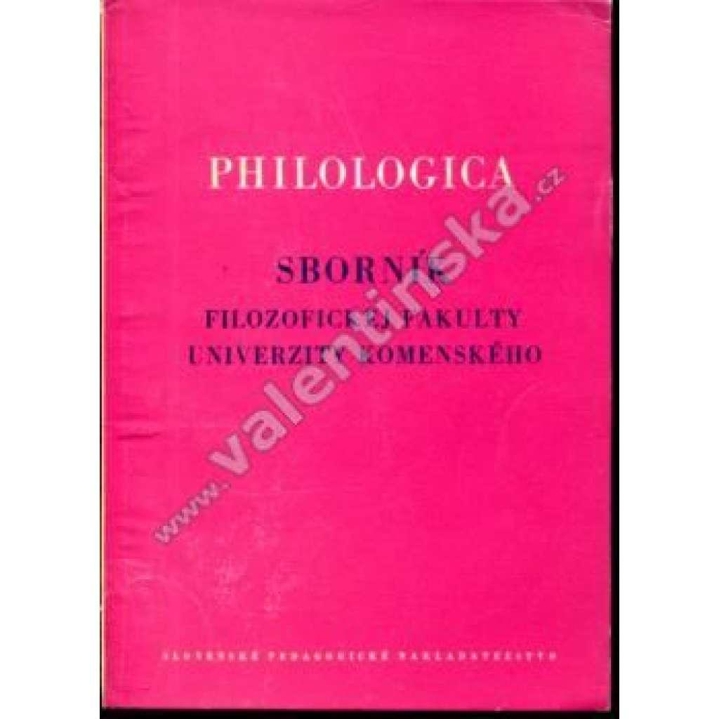 Philologica, sborník Filozofickej fakulty UK, 1962