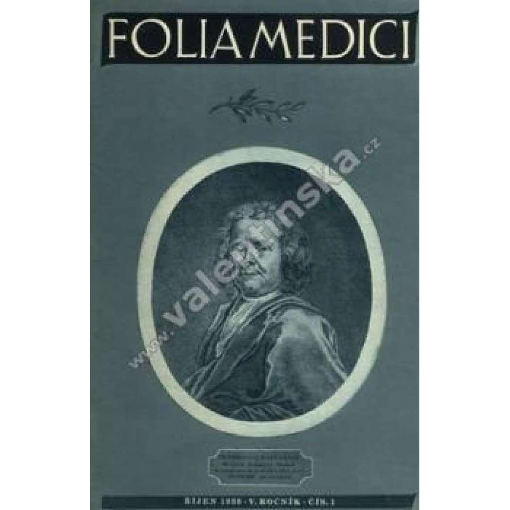 Folia Medici. V.ročník. sešit č.1, 1938