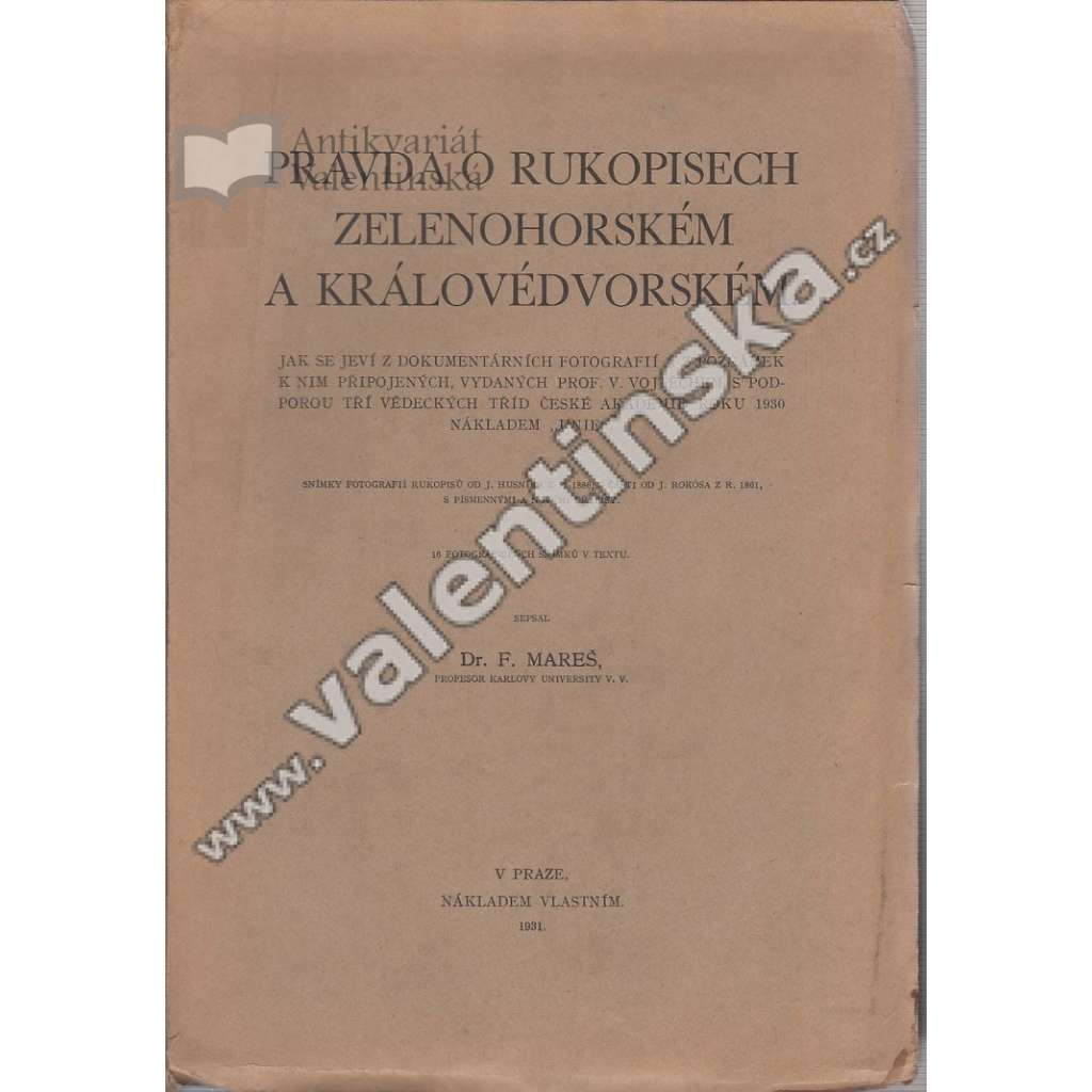 Pravda o rukopisech Zelenohorském a ...
