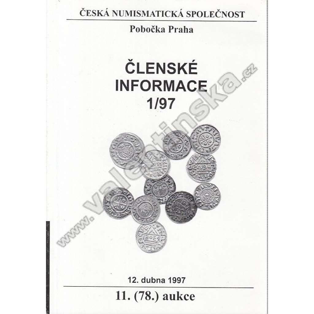 Česká numismatická spol. - Členské informace, 1/97