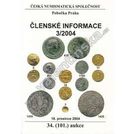Česká numismatická spol., Členské informace 3/2004