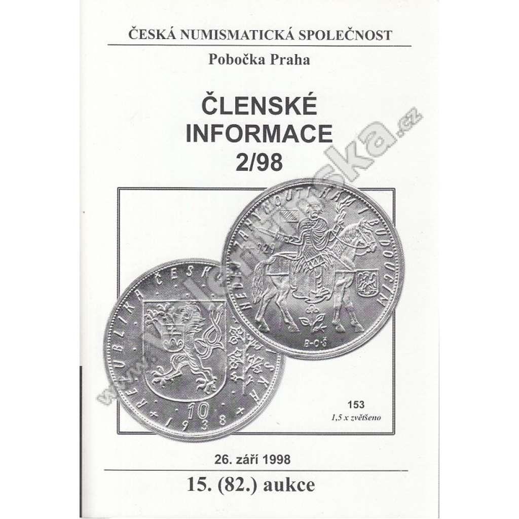 Česká numismatická spol., Členské informace 2/98