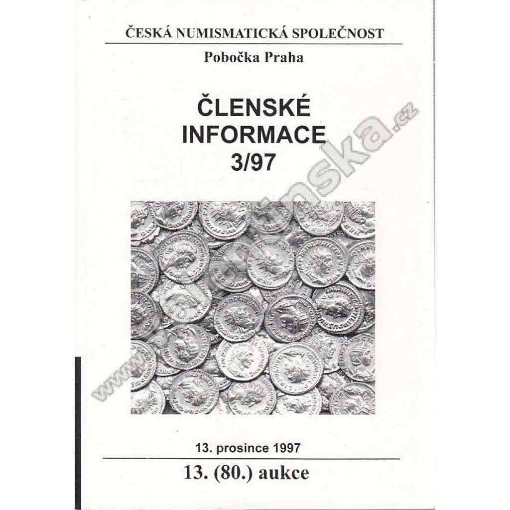 Česká numismatická spol., Členské informace 3/97