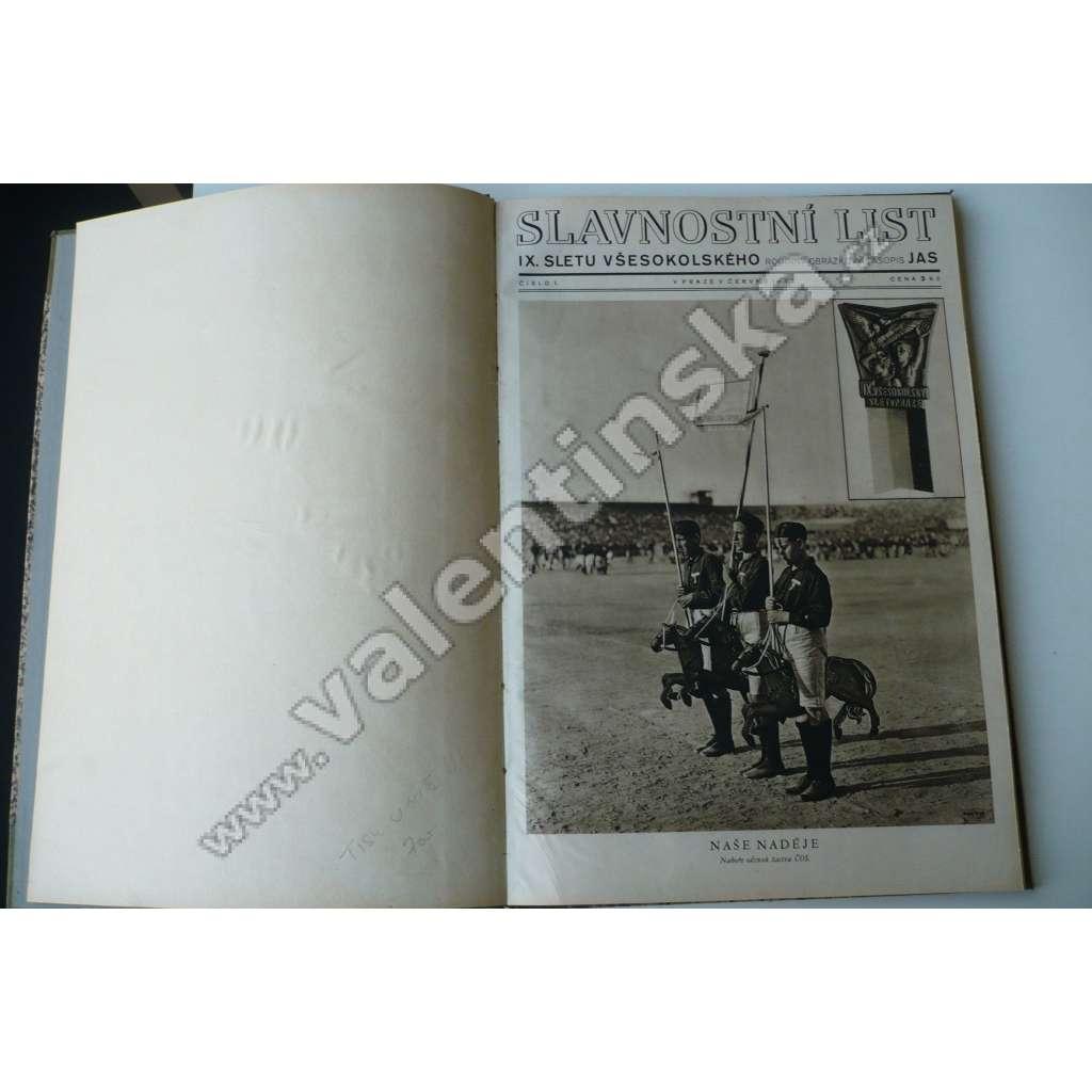 Jas. Slavnostní list - IX. Slet všesokolský 1932