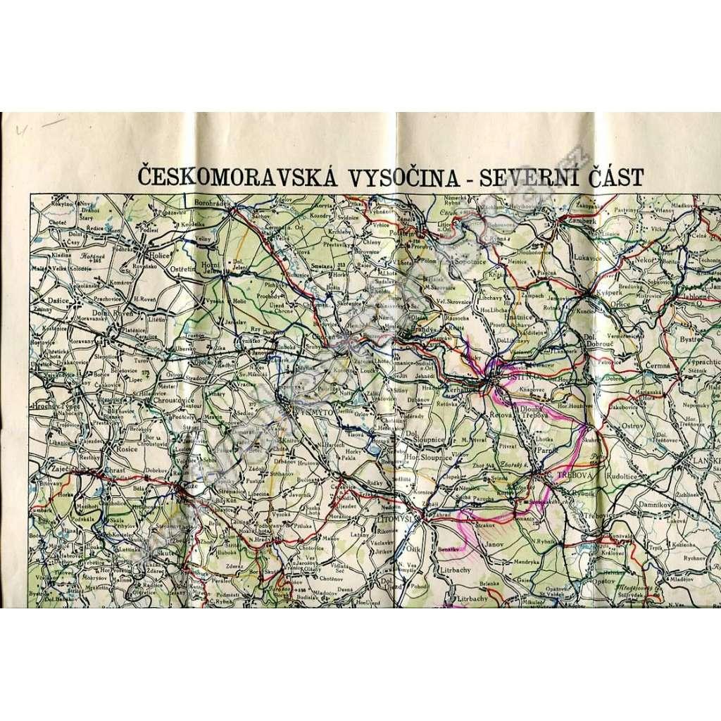 Českomoravská Vysočina, severní část - mapa