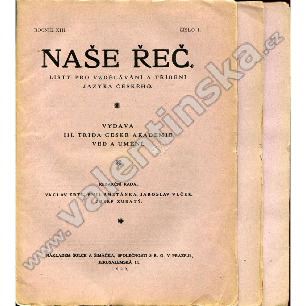 Naše řeč, r. XIII. (1929) - nekompletní!