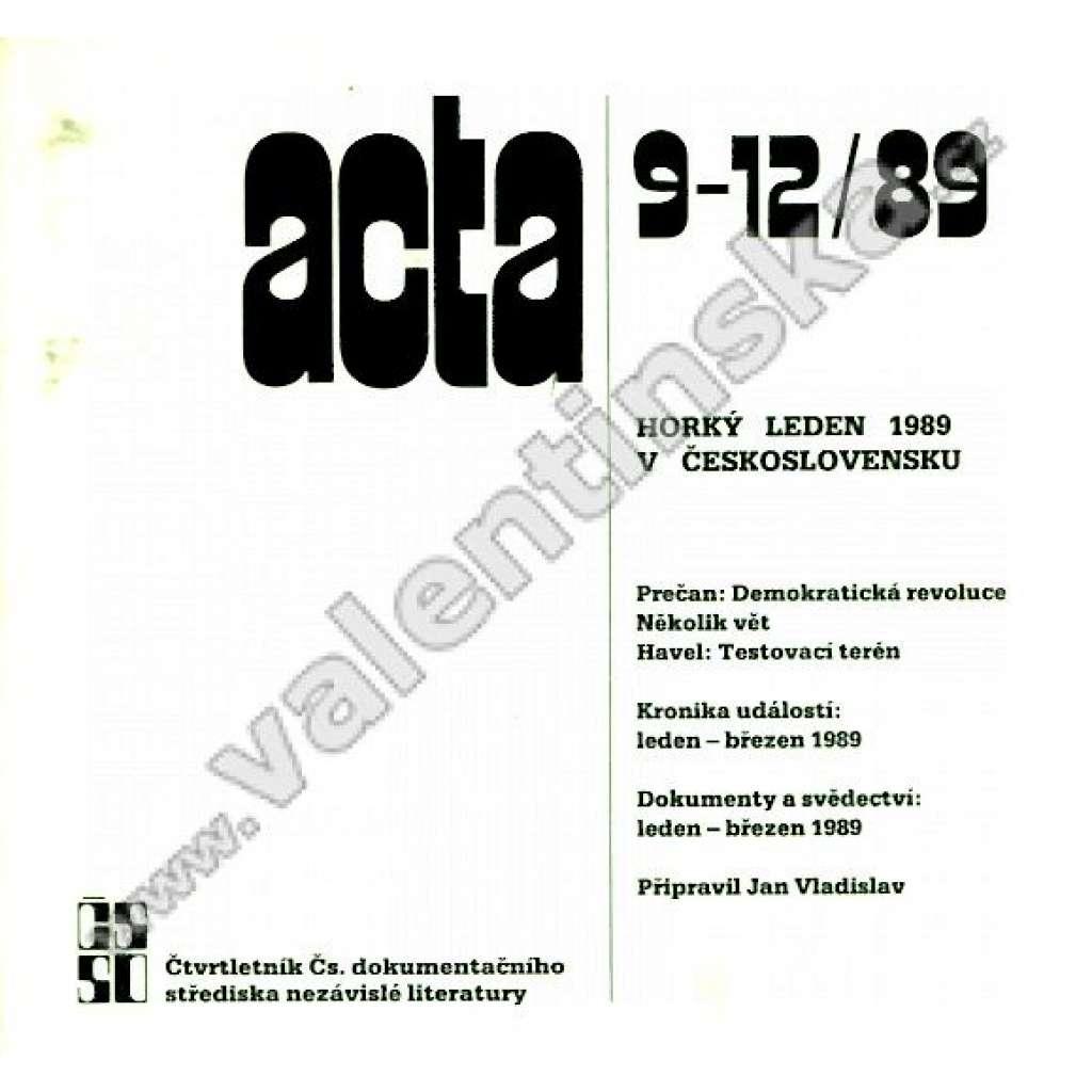 Acta, ročník 3, číslo  9-12, rok 1989
