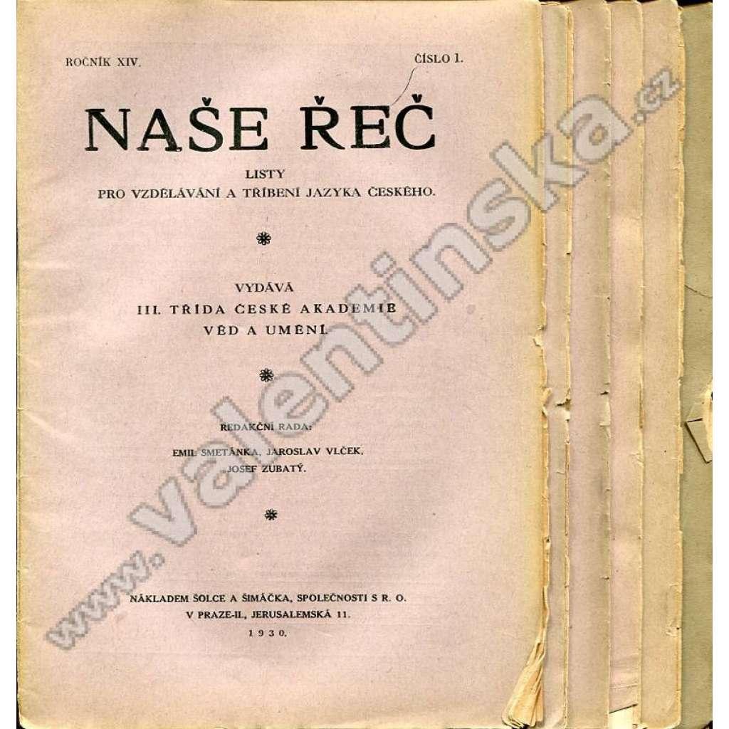 Naše řeč, r. XIV. (1930) - v sešitech, nekompletní
