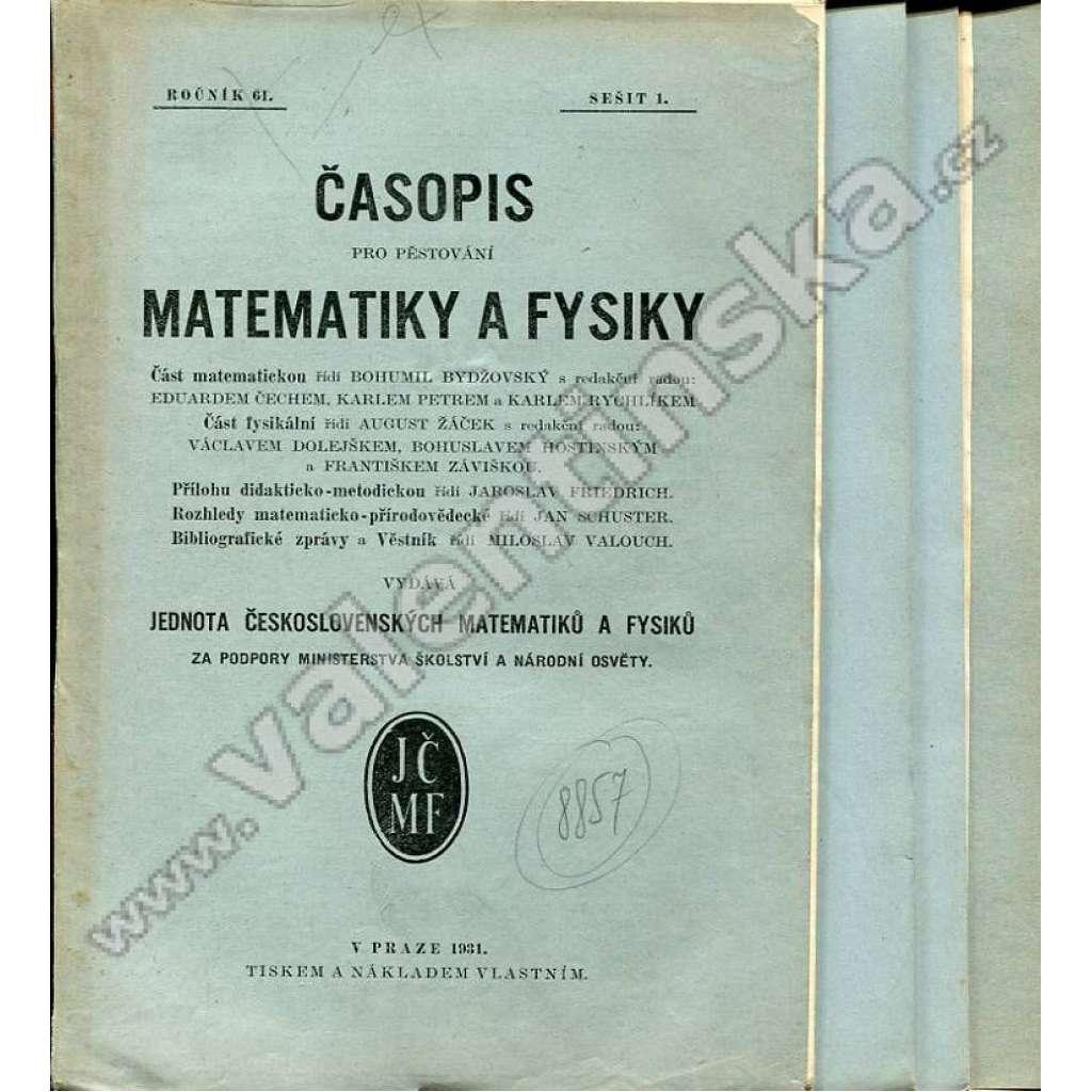 Časopis pro pěstování matematiky a fysiky, 1930-31