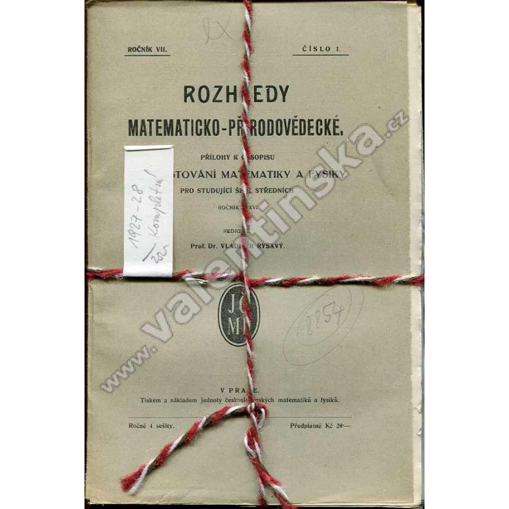 Rozhledy matematicko-přírodovědecké, 1927-28
