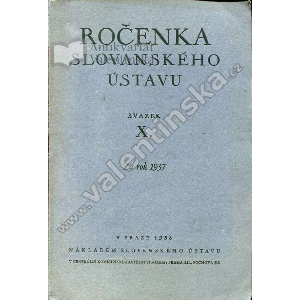 Ročenka Slovanského ústavu, 1937 (sv. X.)