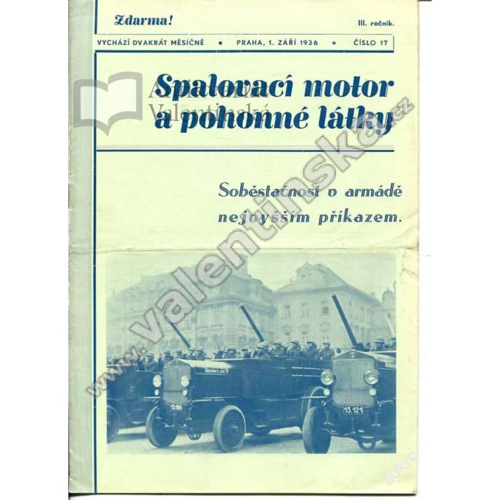 ČASOPIS SPALOVACÍ MOTOR A POHONNÉ LÁTKY - 1936