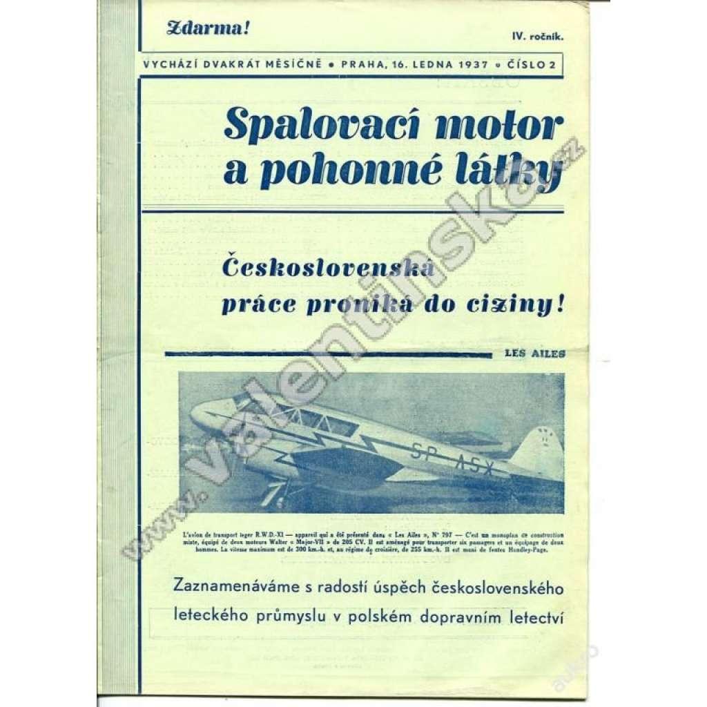 ČASOPIS SPALOVACÍ MOTOR A POHONNÉ LÁTKY - 1937