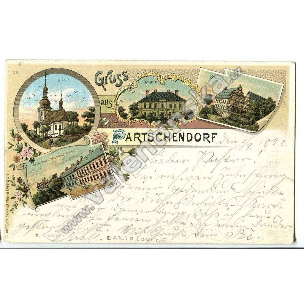 Bartošovice Partschendorf, litografie,, Nový Jičín
