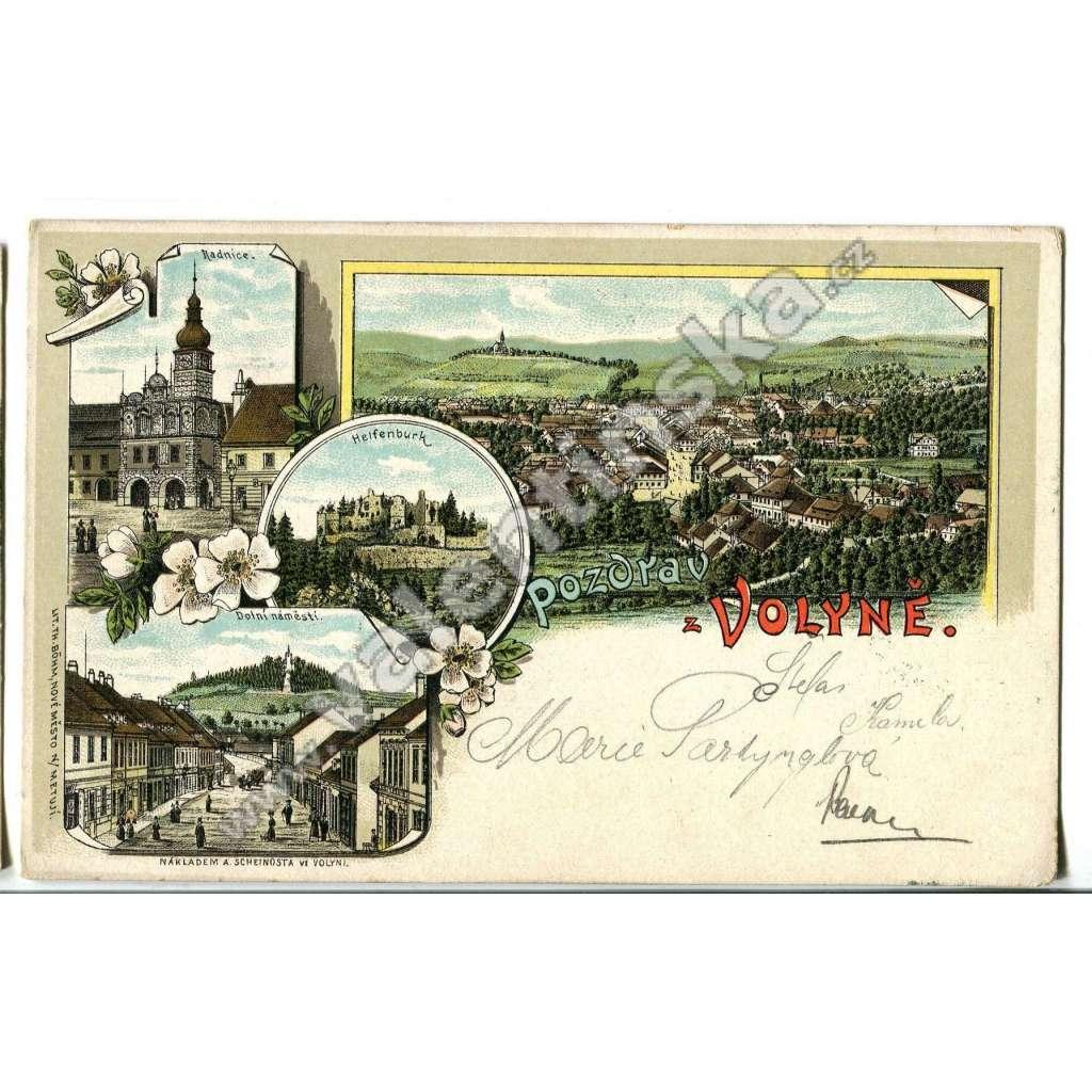 Volyně a Helfenburk,, Strakonice, litografie