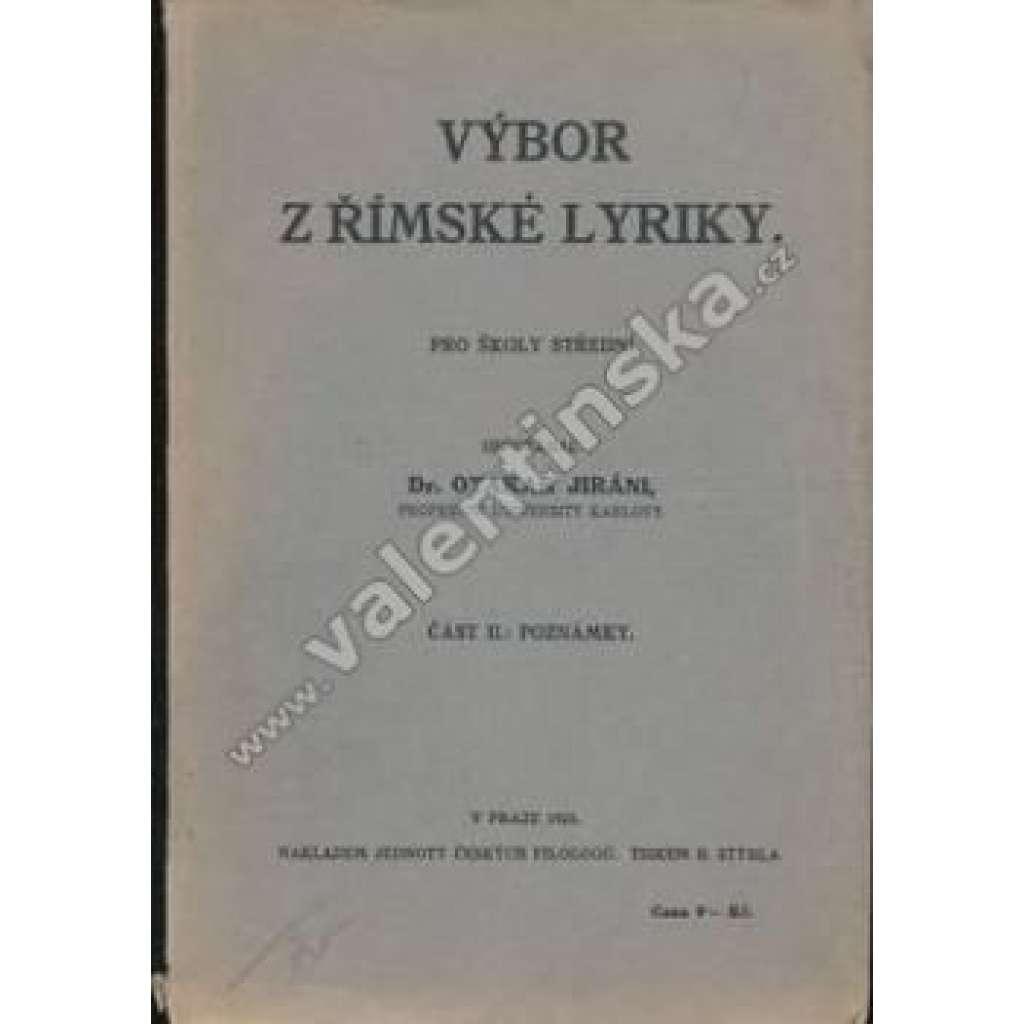 Výbor z římské lyriky. Část II. Poznámky