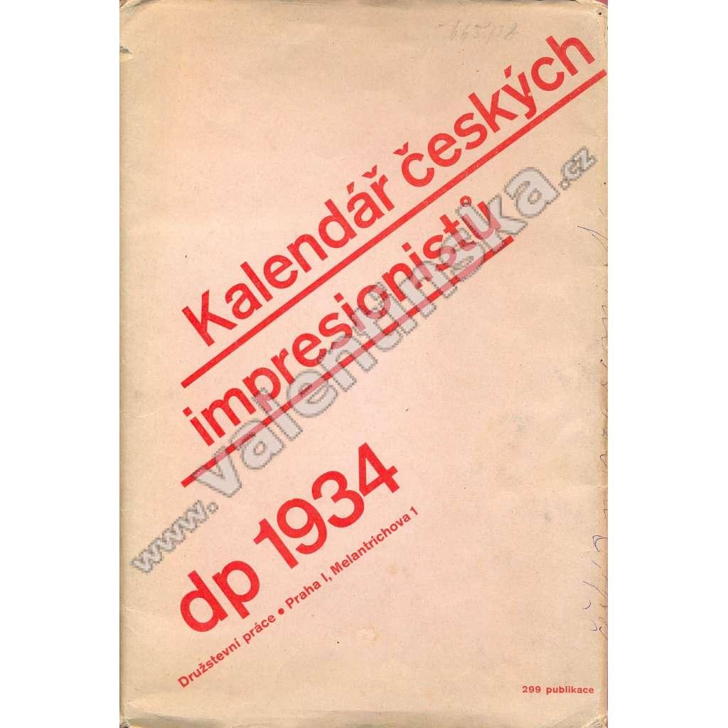 Kalendář českých impresionistů, 1934