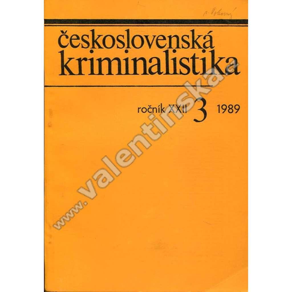 Československá kriminalistika, 3/1989 (r. XXII.)