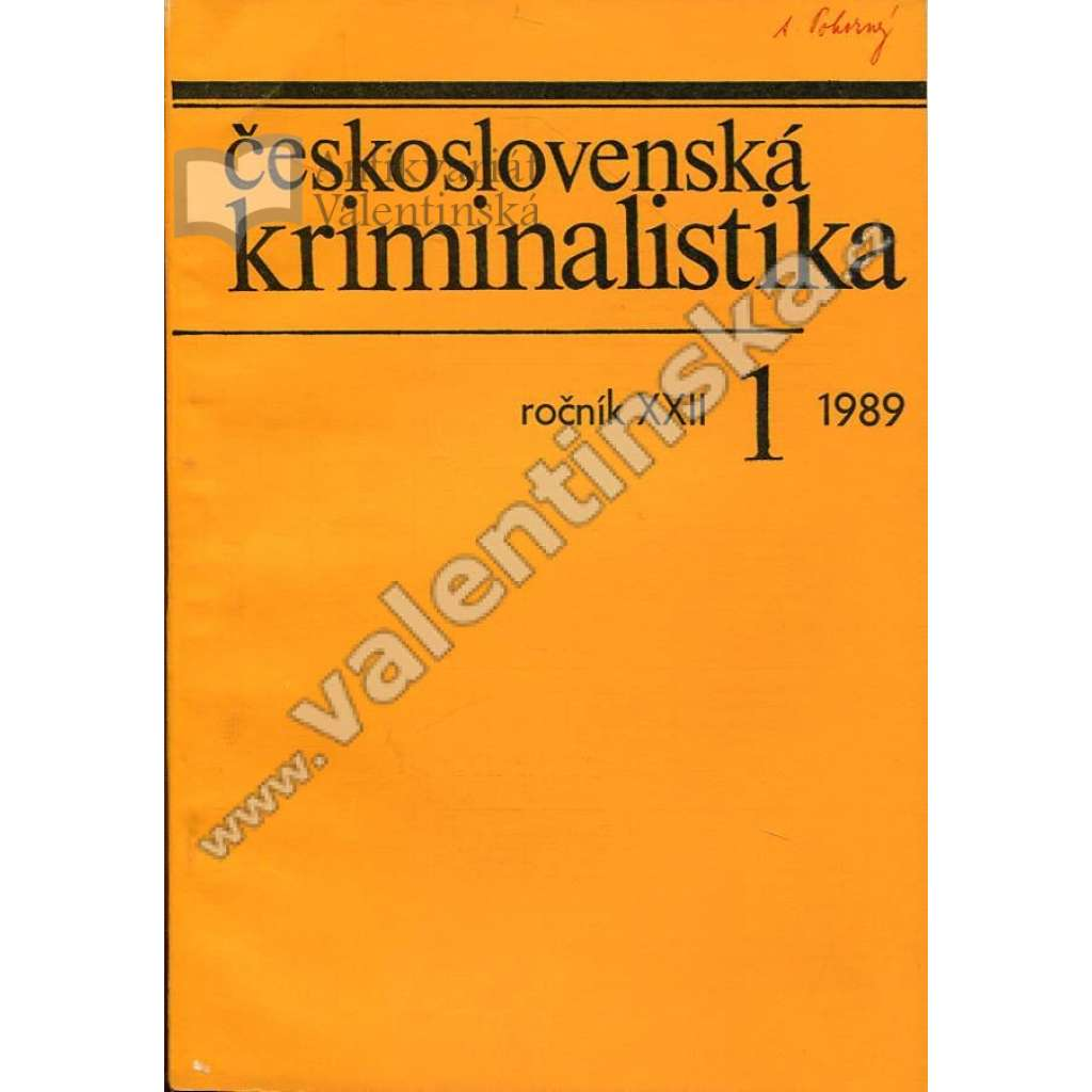 Československá kriminalistika, 1/1989 (r. XXII.)