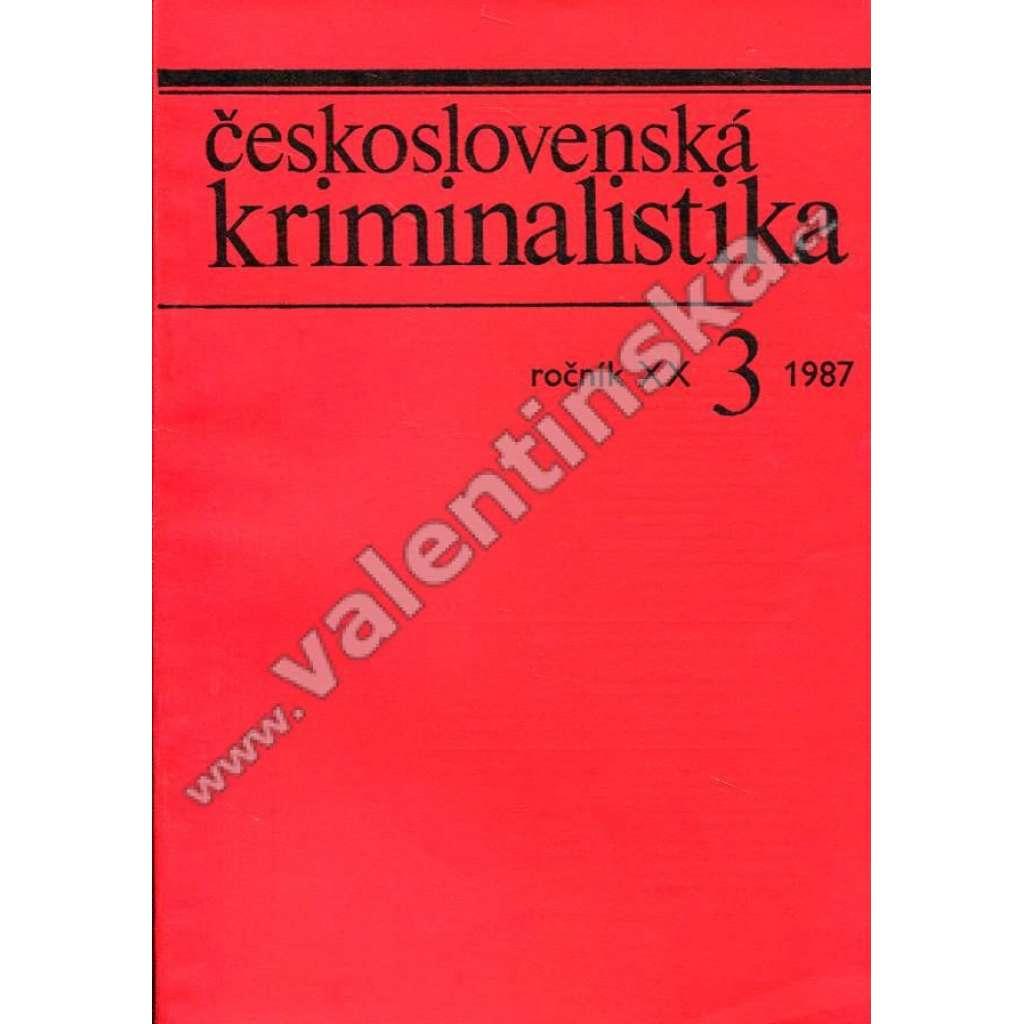 Československá kriminalistika, 3/1987 (r. XX.)