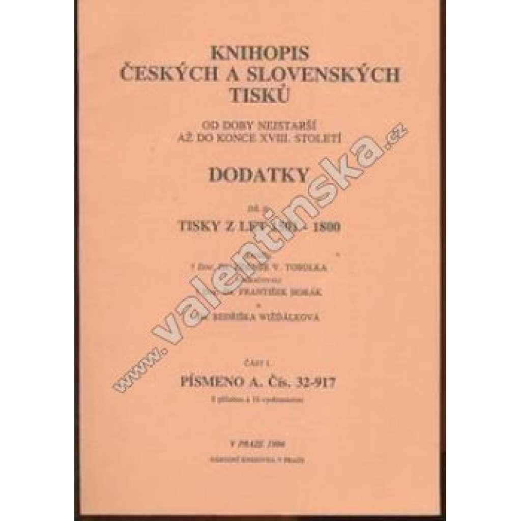 Knihopis českých a slovenských tisků II - část I