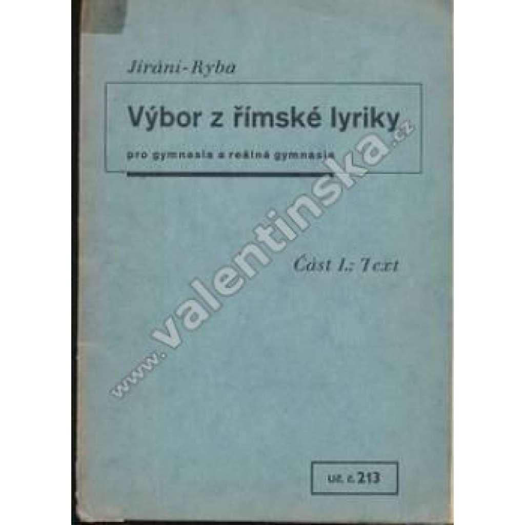 Výbor z římské lyriky. Část I. Text