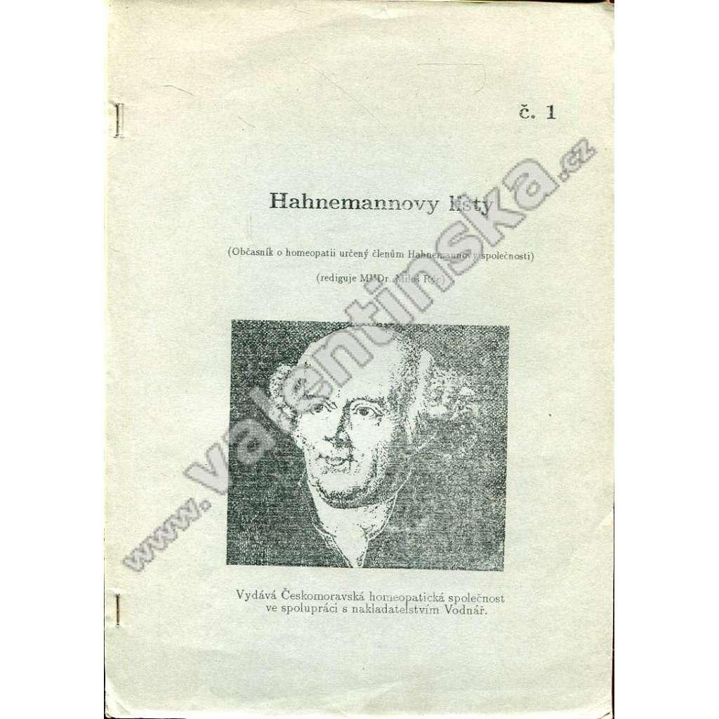 Hahnemannovy listy, č. 1 (1991)