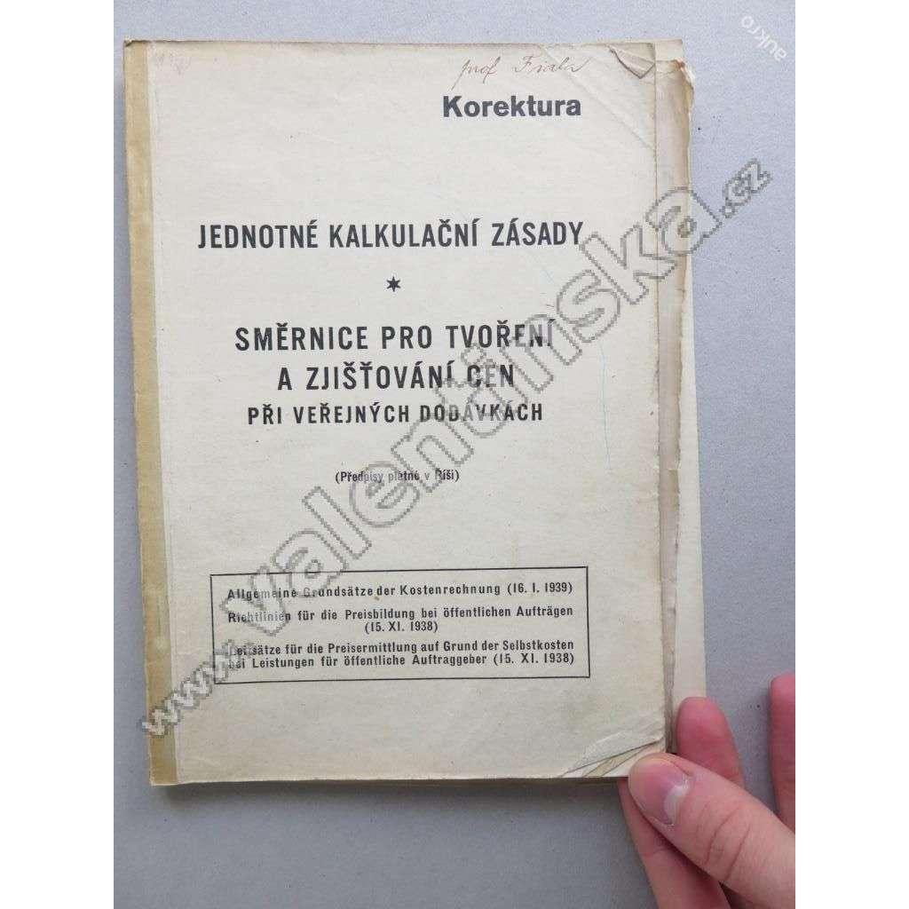 SMĚRNICE PRO TVOŘENÍ CEN V ŘÍŠI - PROTEKTORÁT 1939