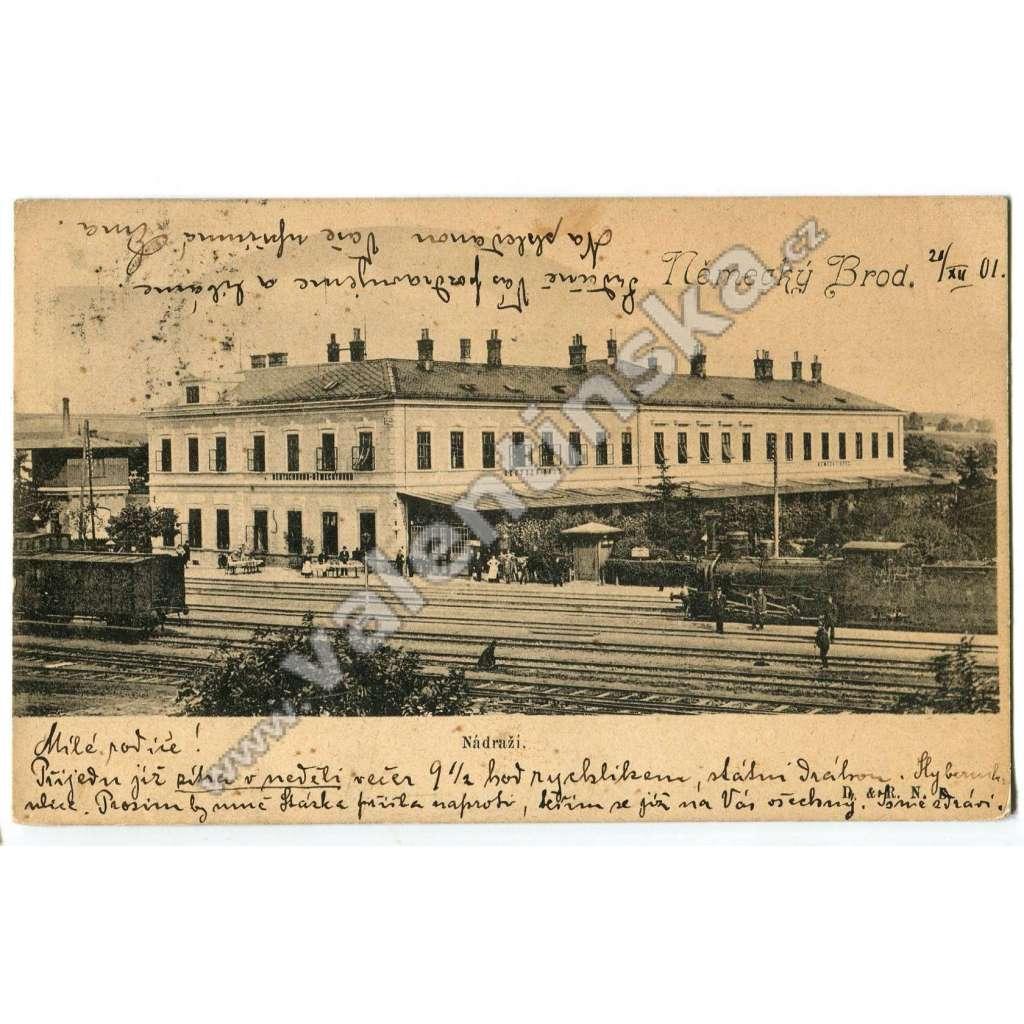Havlíčkův Brod, nádraží, železnice lokomotiva vlak
