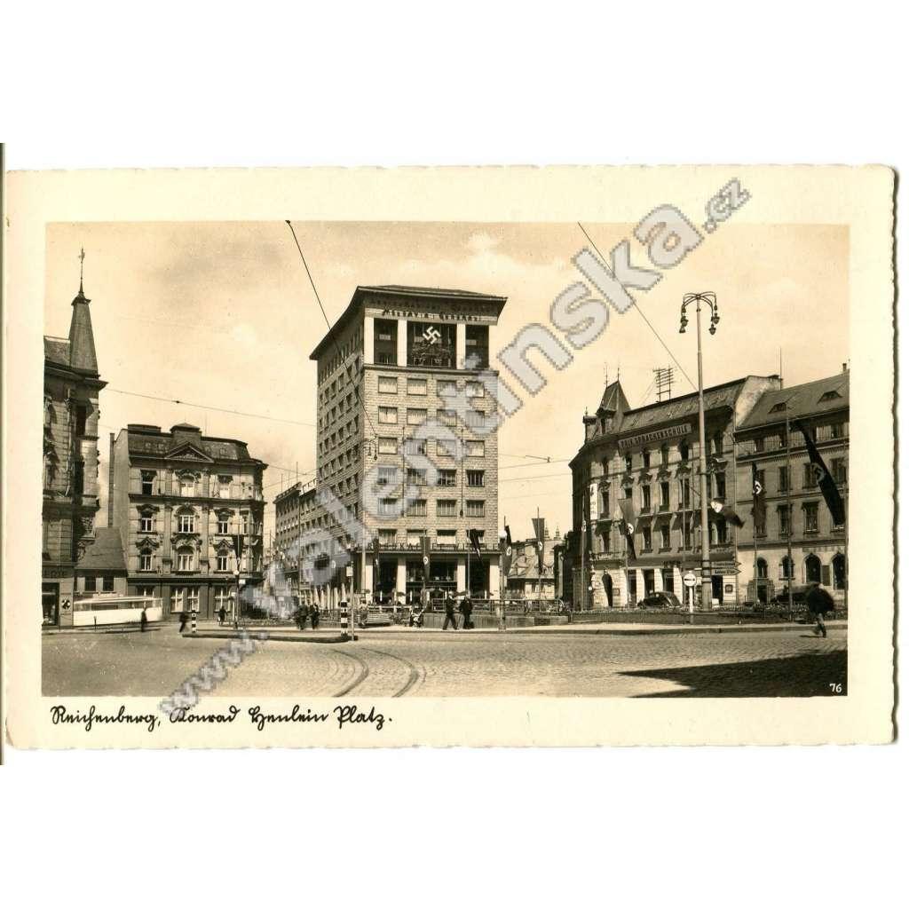 Liberec, nacismus, hákové kříže, tramvaj
