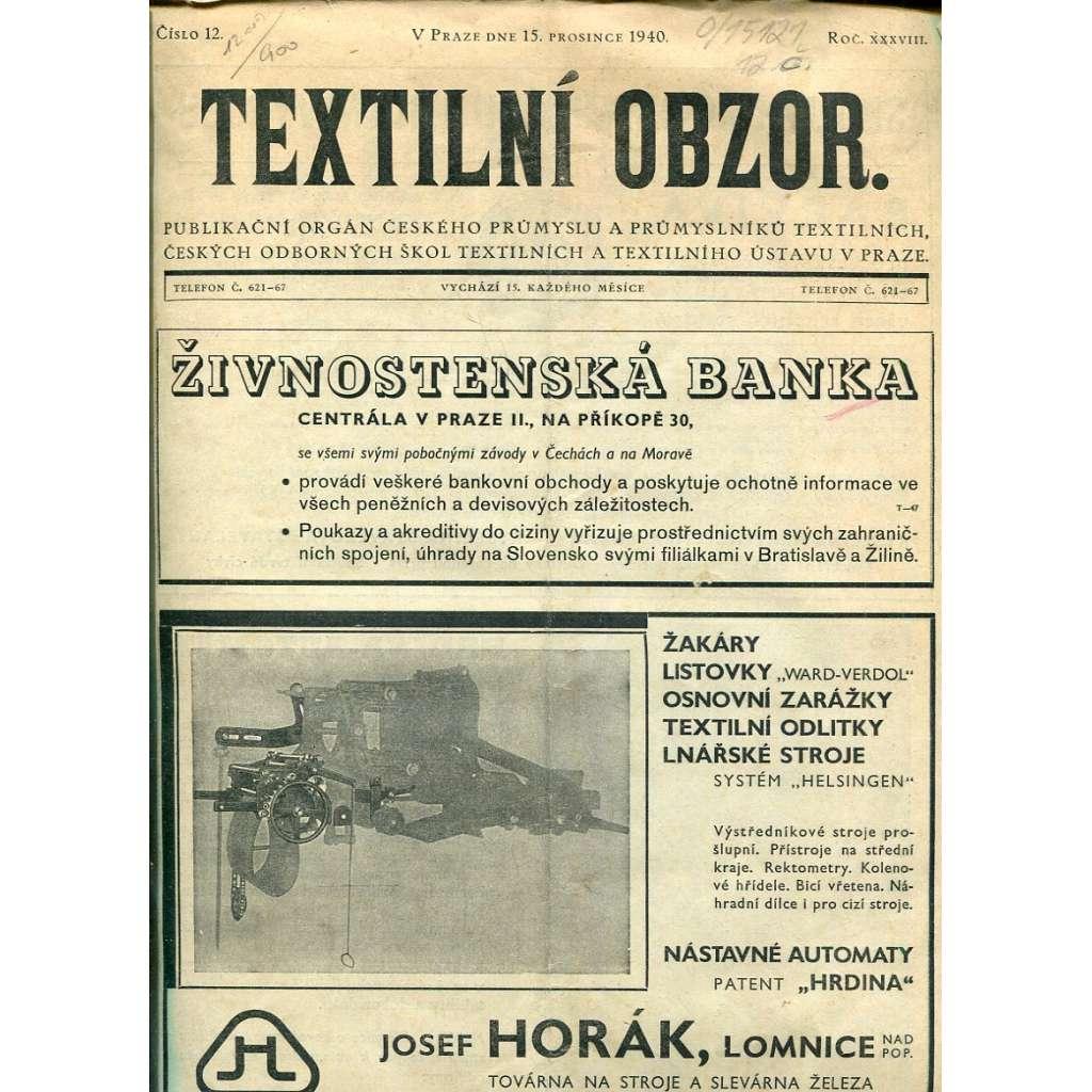 Textilní obzor - roč. 38, 1940 (textil, průmysl)