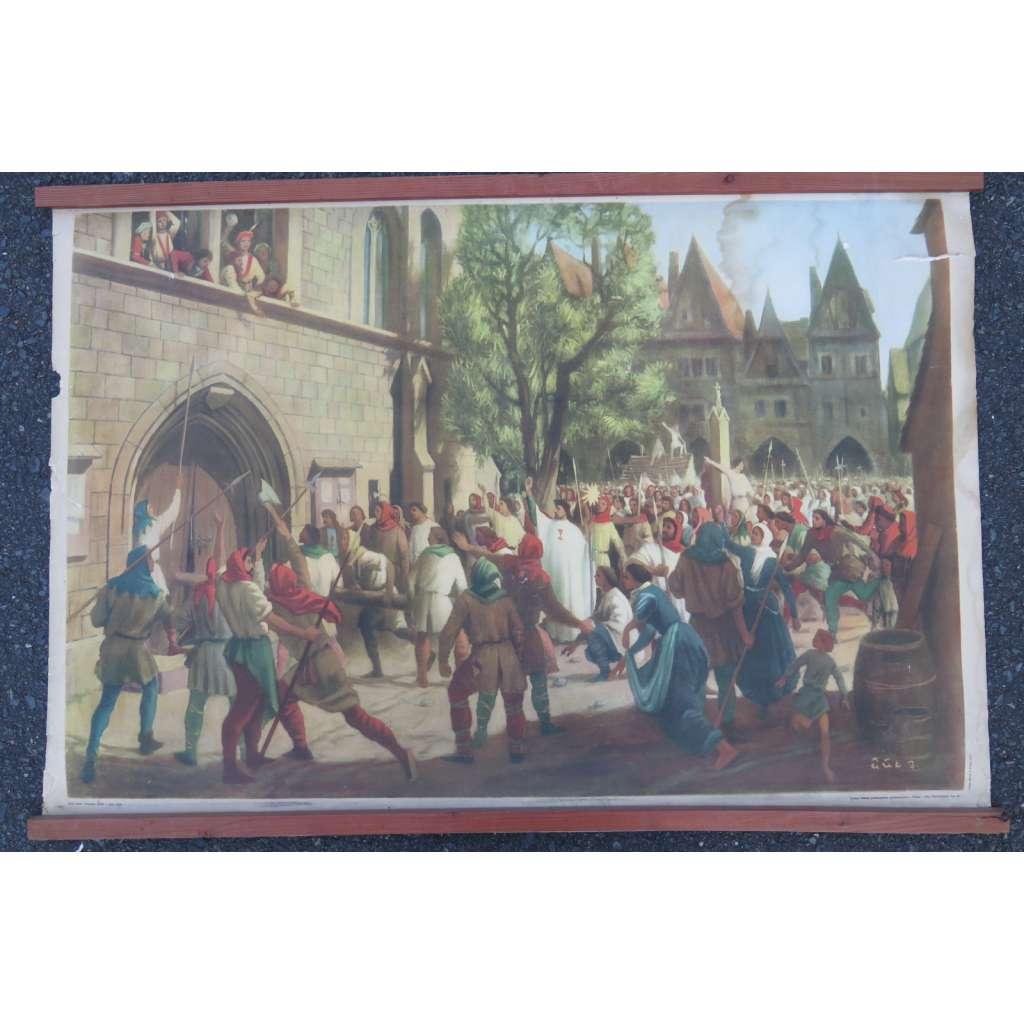 Pražské bouře v roce 1419 - defenestrace - husitství - dějepis - školní plakát