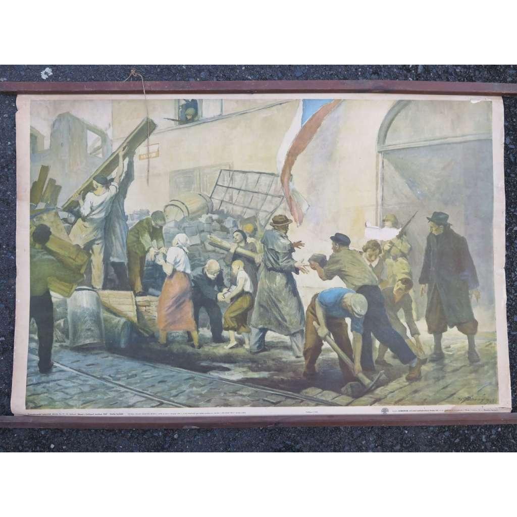 Pražské povstání - barikády - školní plakát (pošk.)