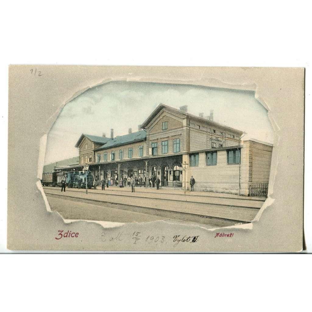 Zdice, Beroun, nádraží, lokomotiva, koláž