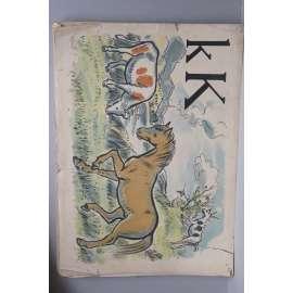 Živá abeceda - písmeno K - kůň - školní plakát