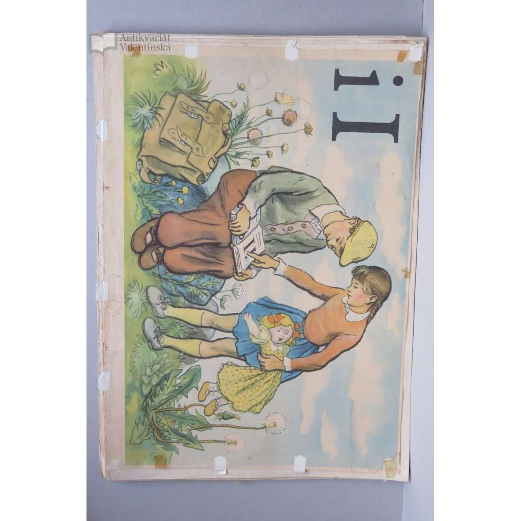 Živá abeceda - písmeno I - Ivan, Irena - školní plakát