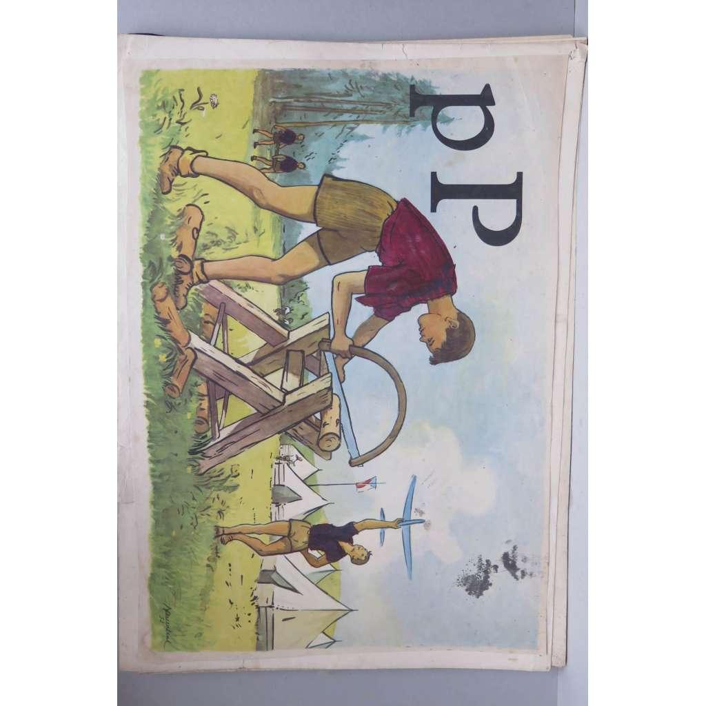 Živá abeceda - písmeno P - pila - školní plakát
