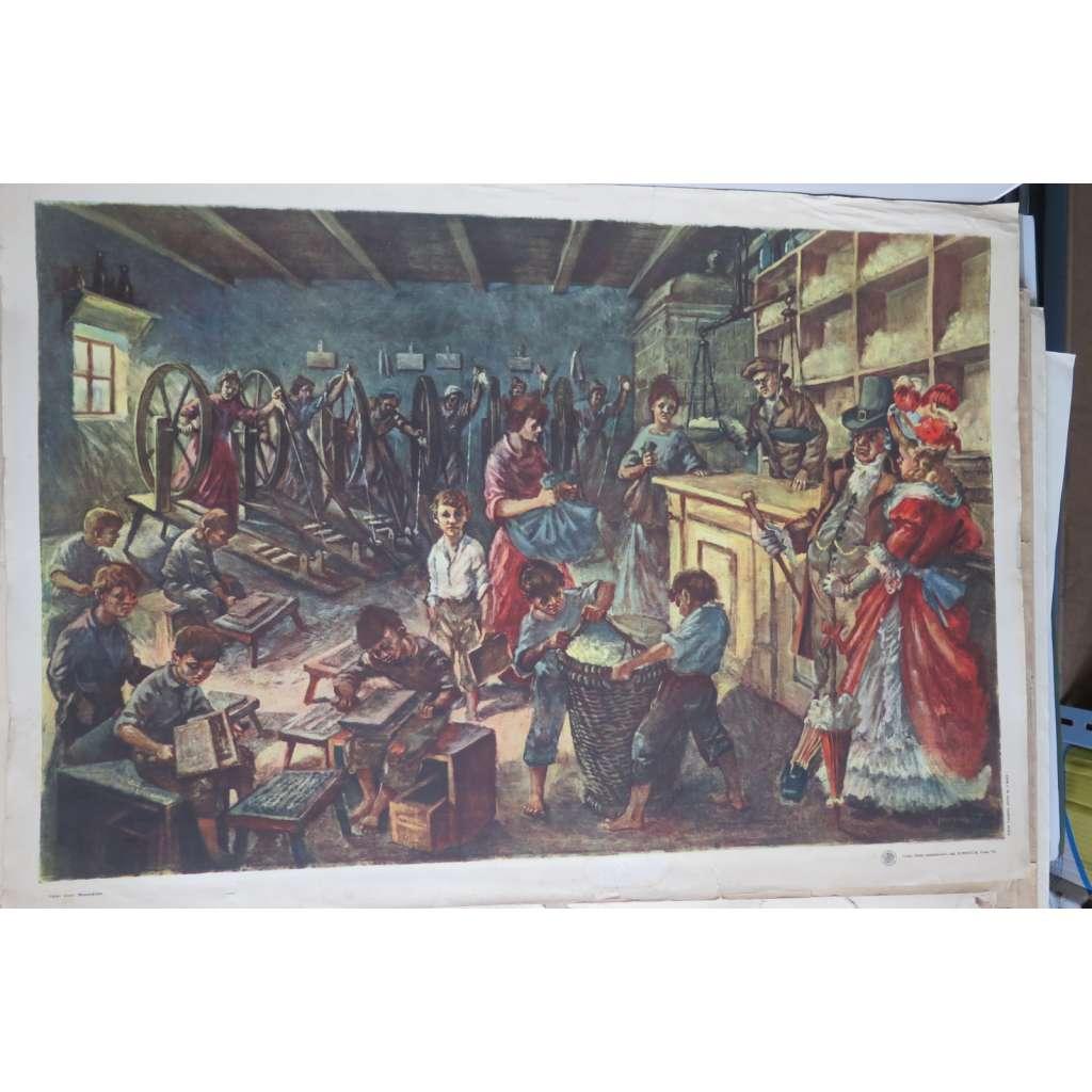 Manufaktura - přádelna - práce v dílně - školní plakát