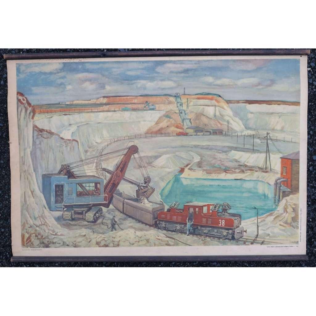 Dobývání kaolinu - důl, těžba, továrna - školní plakát