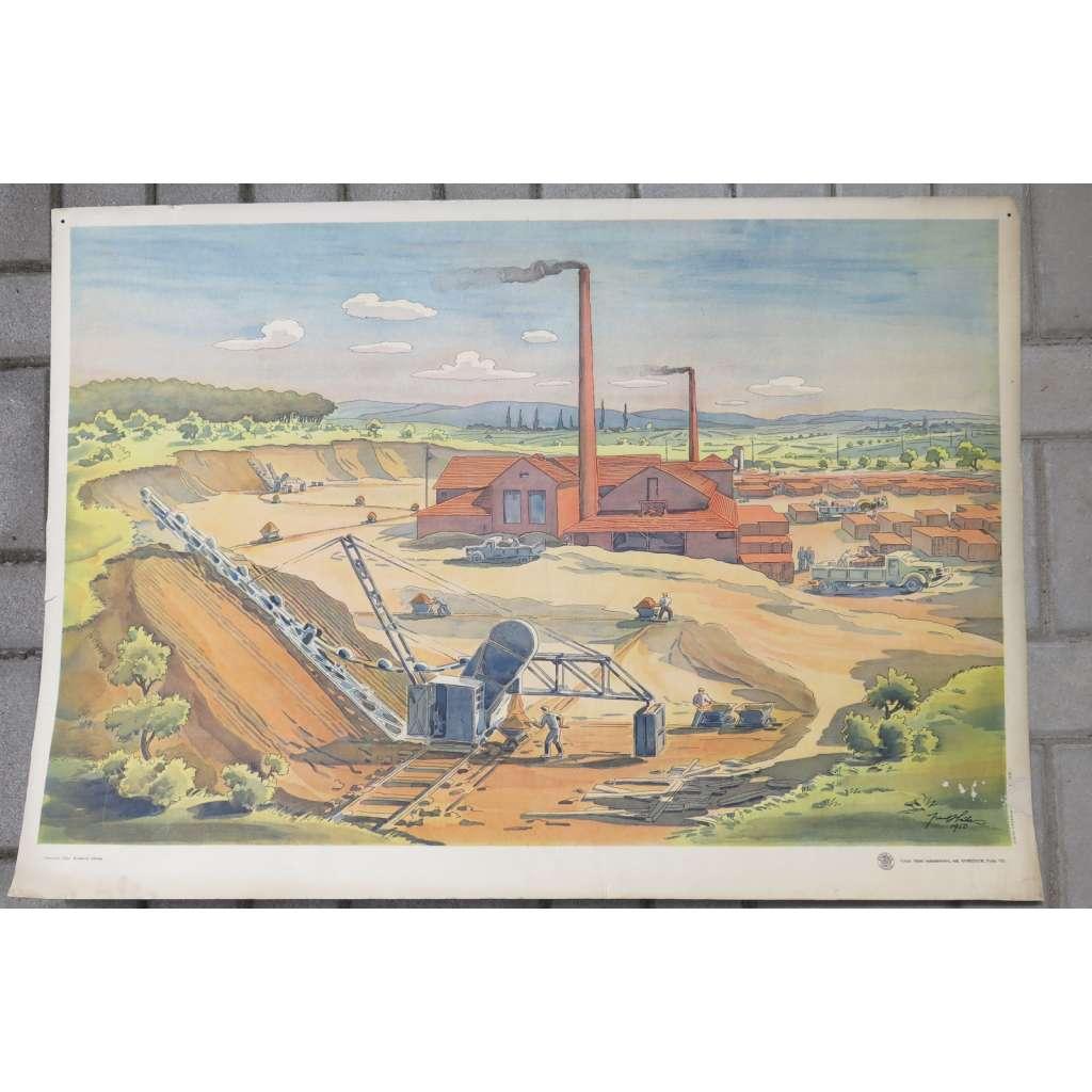 Kruhová cihelna - továrna - školní plakát